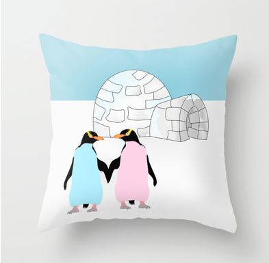 throw pillow, yellow eyed penguins, hoiho, new zealand, new zealand birds, igloo, ice, love, pink penguin, blue penguin, penguins holding hands, penguins in love, love birds, antarctica, penguin, penguins, cold, cold places, holding hands