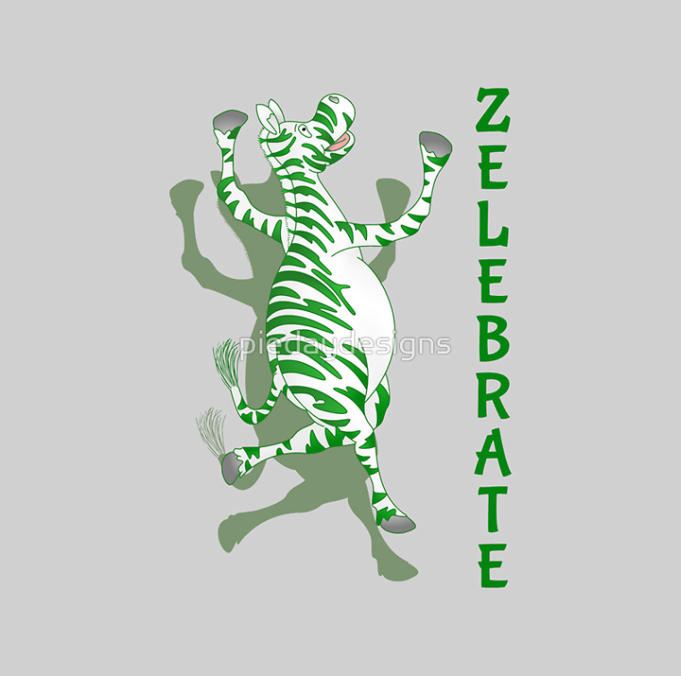 zelebrate, celebrate, zebra, celebration, african animal, funny zebra, green stripes, zebra with green stripes, green zebra, happy zebra, cute zebra, jumping for joy, happy, happiness, zebras, green animal