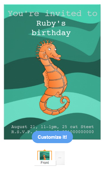 sea horse, orange sea horse, cute sea horse, cute fist, under the sea, seahorse party, birthday party, theme party, kids birthday, green waves, ocean, beach party, birthday, Card