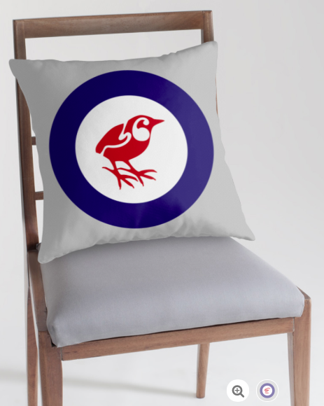 pillow, throw pillow, cushion, south island wren, rock wren roundel, flag, airforce, rock wren, wren, piwauwau, small bird, new zealand bird, koru, maori design, maori art, red white and blue, red bird, stylised bird