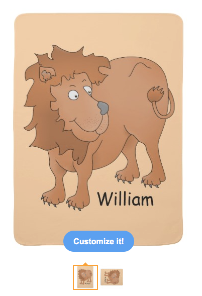 lion, cute lion, cartoon lion, smiling lion, personalized, customizable, big cat, wild animal, african, animal, receiving blanket