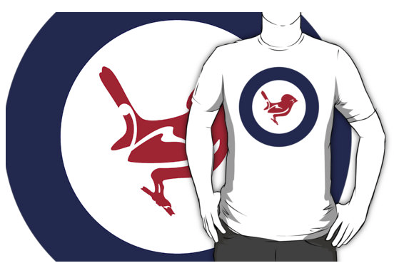 roundel, flag, airforce, tomtit, miromiro, small bird, new zealand bird, koru, maori design, maori art, red white and blue, red bird, stylised bird, air force,t-shirt, tee, shirt,