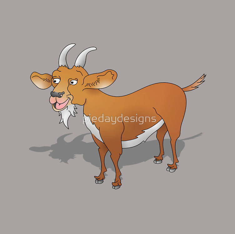 goat, goats, billy goat, cartoon goat, cute goat, brown goat, farm, farm animals, shadow