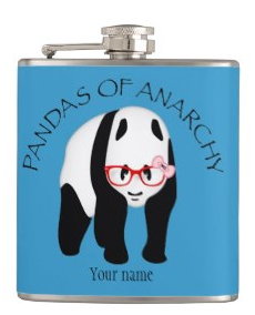 Pandas of Anarchy Hip Flasks by Piedaydesigns