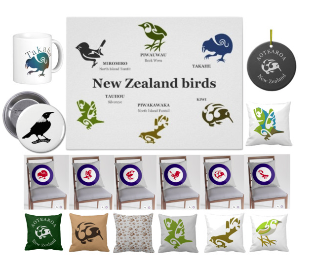 birds, new zealand birds, collage, kiwi, rock wren ,tomtit, fantail , takahe, tui, home decor, new zealand, maori design , koru, throw pillows, posters