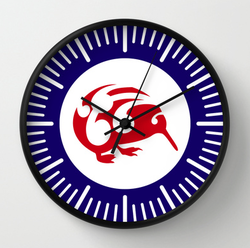 roundel, flag, airforce, kiwi, national bird, small bird, new zealand bird, koru, maori design, maori art, red white and blue, red bird, stylised bird, circles, air force, clock, wall clock