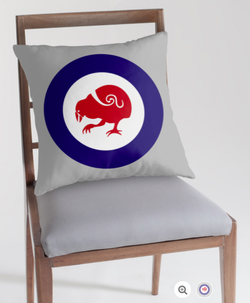 throw pillow, pillow, cushion,   roundel, flag, airforce, takahe, flightless bird, new zealand bird, koru, maori design, maori art, red white and blue, red bird, stylised bird