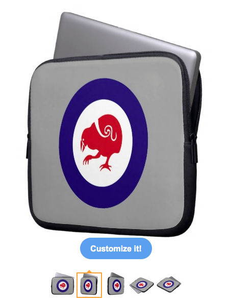 takahe, kiwi, roundel, air force, flag, new zealand, aotearoa, bird, red bird, stylised bird, maori design, koru, laptop computer sleeve