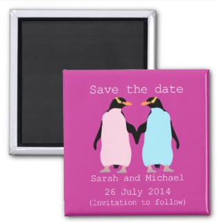 Pastel penguins holding hands save the date by mailboxdisco  zazzle