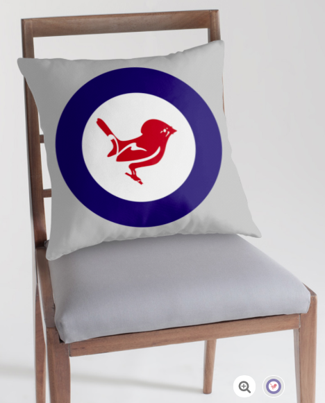 roundel, flag, airforce, tomtit, miromiro, small bird, new zealand bird, koru, maori design, maori art, red white and blue, red bird, stylised bird, throw pillow, pillow