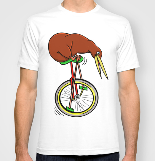 unicycle, kiwi, stripes, brown, funny, cartoon, new zealand, bicycle, rider, riding