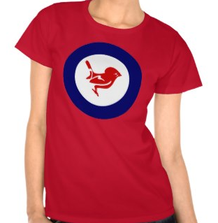 roundrel, kiwi, new zealand, tomtit, bird, koru, roundel, red, maori, white, blue, t shirts