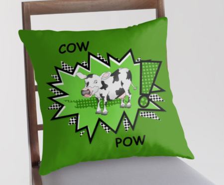 throw pillow, t-shirt, cow, kapow, ka pow, comic, super hero, star, green star, comic strip, pow, fight, art for kids, humour, funny, cows, farm, farm animals, cartoon cow, cute cow, smiling cow, black and white cow