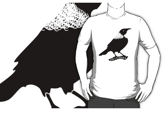 bird, new zealand, aotearoa, native bird, black bird, black and white bird, white space, tui, tuis, song bird, new zealand native bird, T-SHIRT