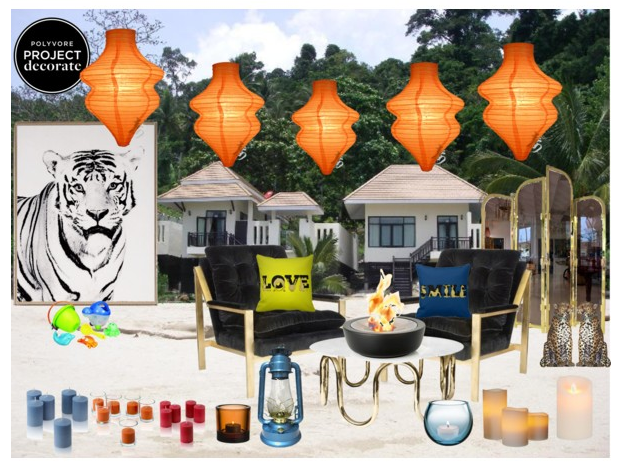 Picture, polyvore, collage, beach , tiger, pony, paper lanterns, beach candles