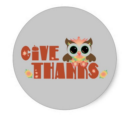 thanksgiving, give thanks, personalized, templates, owl, owls, cute, personalized thanksgiving, cute thank you, xmas, Classic Round Sticker