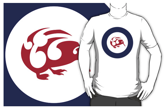 t-shirt, redbubble, roundel, flag, airforce, kiwi, national bird, small bird, new zealand bird, koru, maori design, maori art, red white and blue, red bird, stylised bird, circles, air force