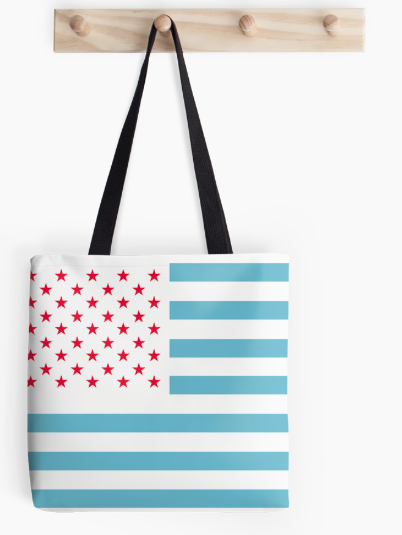 TOTE BAG, BAG, ed white and blue, flag, u, usa, united states, america, american flag, modified flag, stylised flag, red stars, stars, stripes, blue stipes, white stripes
