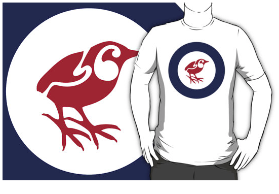 t-shirt, south island wren, rock wren roundel, flag, airforce, rock wren, wren, piwauwau, small bird, new zealand bird, koru, maori design, maori art, red white and blue, red bird, stylised bird, air force