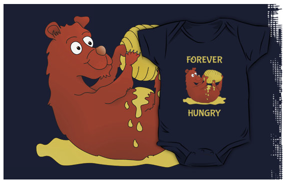 t-shirt, kids clothes, baby boy, bear, bear cub, grown bear, hungry bear, honey, eating honey, bear eating honey, sticky honey, cute bear, cartoon bear, hungry, always hungry, forever hungry, forever, golden honey, bee hive, hive