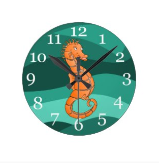 Orange seahorse in the swirling green sea clock by mailboxdisco