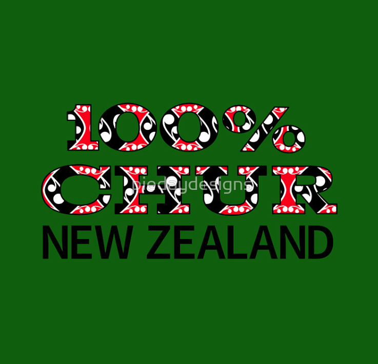 chur, chur bro, thanks, thank you, slang, new zealand slang, kowhaiwhai, koru, korus, white red black, maori, new zealand, aotearoa, 100 percent, 100
