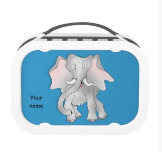 Happy cartoon African elephant Yubo Lunchboxes by mailboxdisco zazzle customizable