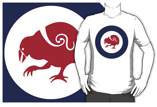 t-shirt, roundel, flag, airforce, takahe, flightless bird, new zealand bird, koru, maori design, maori art, red white and blue, red bird, stylised bird, air force