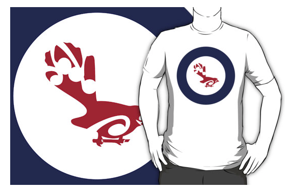 t-shirt, roundel, flag, airforce, fantail, piwakawaka, small bird, new zealand bird, koru, maori design, maori art, red white and blue, red bird, stylised bird, australasian bird, air force