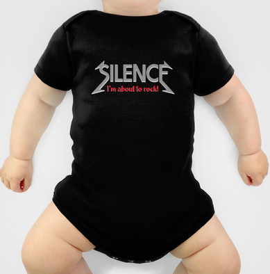 onsie, baby boy, silence, im about to rock, quiet, heavy metal, be quiet, geek, cool geek, rock n roll, funny, humour, library humour, books, album cover, album cover art, typography, rock music, music