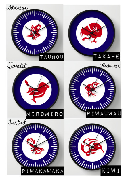 CLOCK, WALL CLOCK, ROUND CLOCK, KIWI, TAKAHE, COLLAGE, MIROMIRO, PIWAKAKWAKA, FANTAIL, TAUHOU, NEW ZEALAND, BIRDS, ROUNDELS