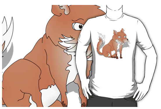 t-shirt, fox, fox cub, orange fox, bush tail, fox with bushy tail, bushy tailed, cartoon fox, happy fox, smiling fox, sly fox, white chest, white fox, orange and white fox