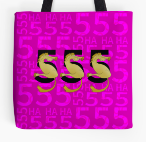 TOTE, SHIRT, PILLOW,  555, ha ha ha, thai, thailand, ponies, pony, cute pony, internet slang, jargon, brown pony, cartoon pony, flexible pony, pony numbers, numbers
