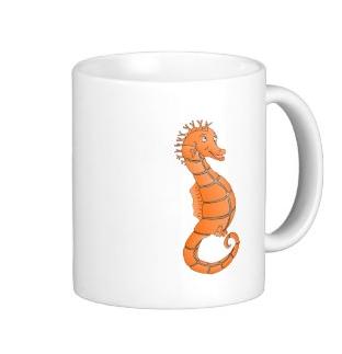 Orange seahorse with curled tail mug by mailboxdisco