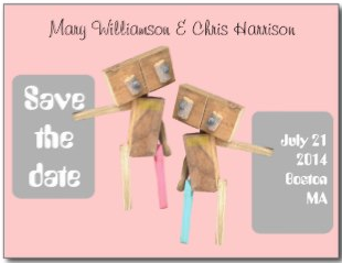 Wooden Robots Save the date by Piedaydesigns customizable wedding