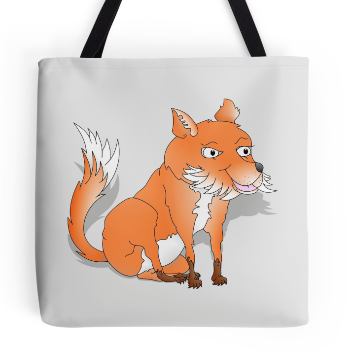 tote bag, fox, fox cub, orange fox, bush tail, fox with bushy tail, bushy tailed, cartoon fox, happy fox, smiling fox, sly fox, white chest, white fox, orange and white fox