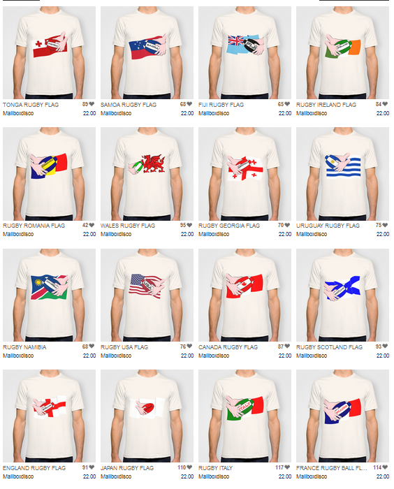 Rugby, rugby ball, T-shirts, Rugby World Cup