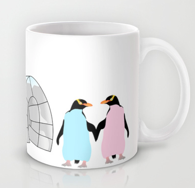 coffee mug, yellow eyed penguins, hoiho, new zealand, new zealand birds, igloo, ice, love, pink penguin, blue penguin, penguins holding hands, penguins in love, love birds, antarctica, penguin, penguins, cold, cold places, holding hands