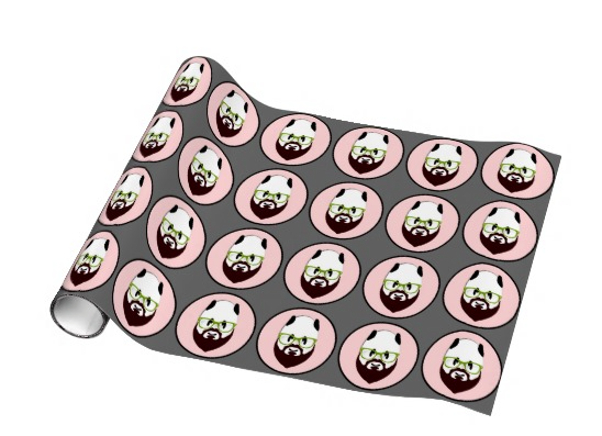 panda, bear, panda wearing glasses, panda with a beard, bear wearing glasses, bear with a beard, beard, hipster, wearing glasses, funny panda, moustache, mustache, glasses, green glasses, funny bear, Wrapping Paper