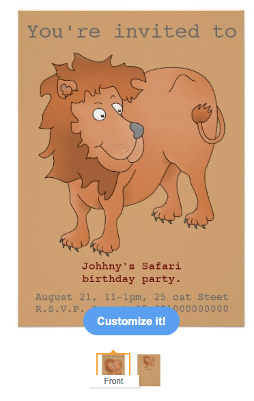 Invitation, safari, safari party, party, customizable party, lion, king of the jungle, cartoon lion, birthday, kids birthday, birthday party, jungle, big cat, lion cub, king, tail, cub, cute lion, playful lion, cartoon animal, Card