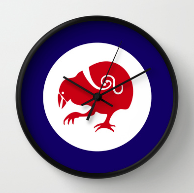 roundel, flag, air force, takahe, flightless bird, new zealand bird, koru, maori design, maori art, red white and blue, red bird, stylised bird, air force, clock, wall clock,