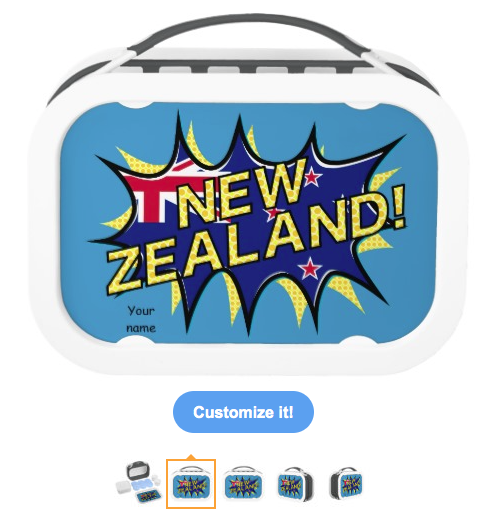 new zealand, kiwi, flag, flag of new zealand, new zealand flag, starburst, kapow, aotearoa, red white blue, union jack, yubo Lunch Box