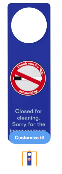 cleaning, closed for cleaning, thank you for not smoking, smoking, no smoking, prohibition, cigarette, cigarettes, health and safety, smoke free, Door Hangers