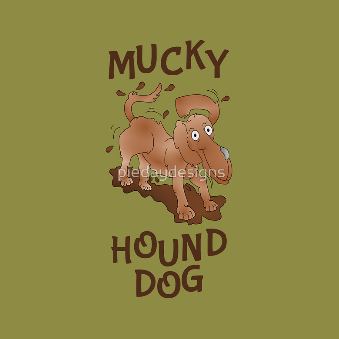 t-shirt, clothes for baby boy,dog, pup, puppy, hound, beagle, hound dog, mud, muck, mucky, mucky dog, puddle, puddle of mud, mucky hound dog, dog with dog ears, happy dog, cartoon dog, cute dog, cute puppy, cute animal