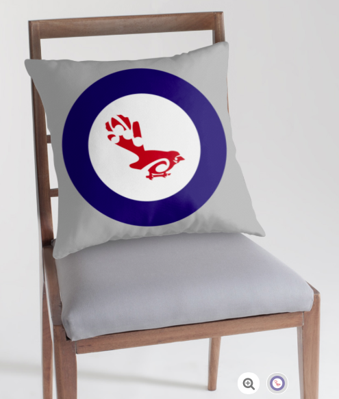 roundel, flag, airforce, fantail, piwakawaka, small bird, new zealand bird, koru, maori design, maori art, red white and blue, red bird, stylised bird, australasian bird, pillow, throw pillow