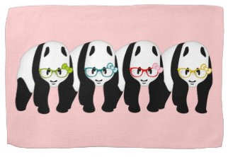Four Pandas wearing glasses Hand Towel by Piedaydesigns