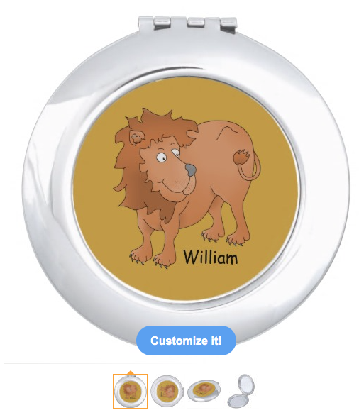 lion, cute lion, cartoon lion, smiling lion, personalized, customizable, big cat, wild animal, african, animal, Makeup Mirror