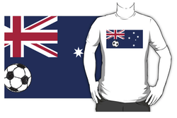 t-shirt, shirt, tee,   football, soccer ball, soccer, footy, austraila, australian, commonwealth star, southern cross, constellation, union jack, flag, flag of australia, australian flag, ball, sketch of ball, stylised flag