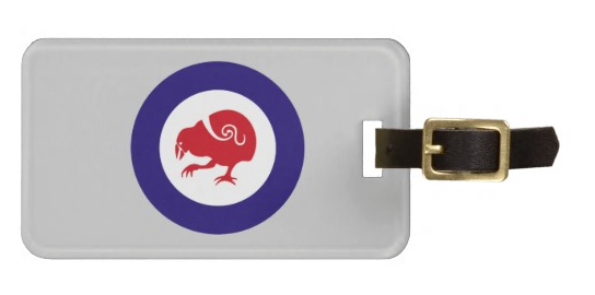 roundel, flag, takahe, flightless bird, new zealand bird, koru, maori, red white and blue, stylised bird, air force, airforce, maori design, red bird, Bag Tag, luggage tag