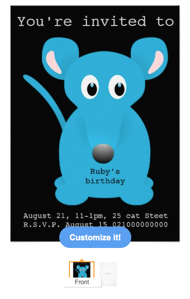 Invitations, party, theme party, children, kids, kitten, mouse, mice, blue mouse, fun, childrens, celebration, Card